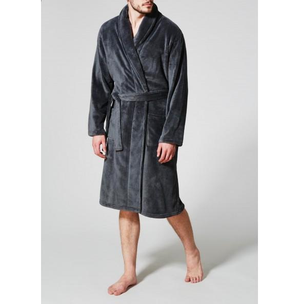Dark grey robe flannel pajamas