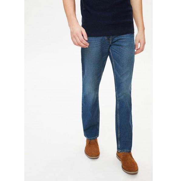 Stretch straight-leg jeans-Midwash