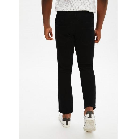 Stretch straight-leg jeans-Black