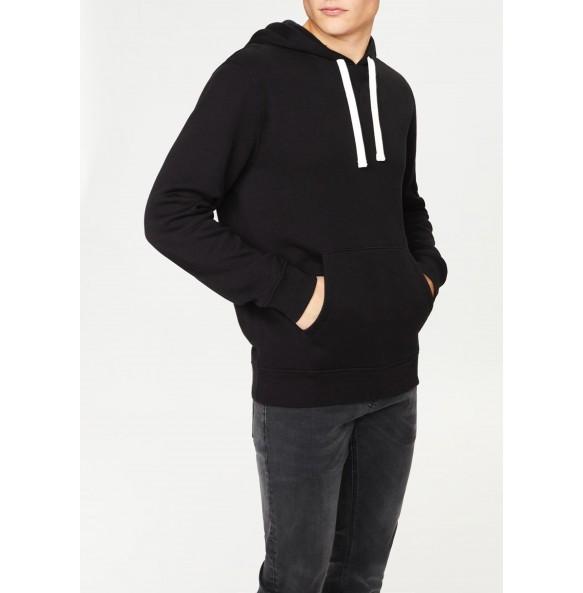 embroidered hoodie-Black