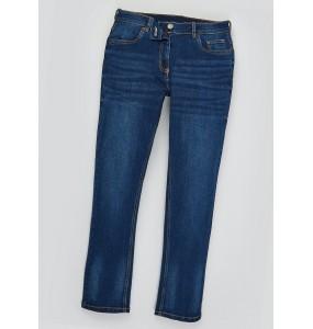Belt elastic straight-leg jeans-Indigo