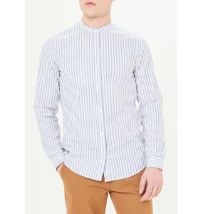 Vertical Stripe Long Sleeve Slim Fit Oxford Collar Shirt