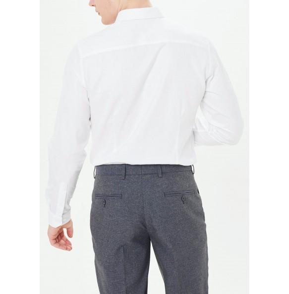 Long Sleeve Slim Fit Oxford Shirt-white