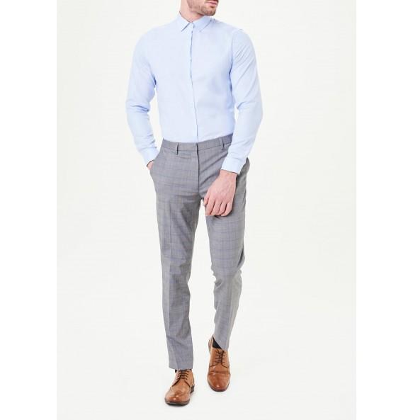 Long Sleeve Slim Fit Oxford Shirt-blue