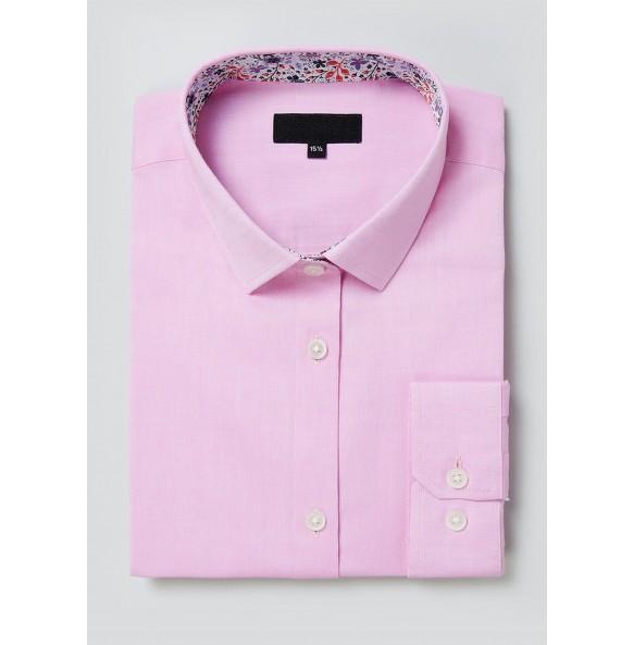 Long Sleeve Slim Fit Oxford Shirt-pink