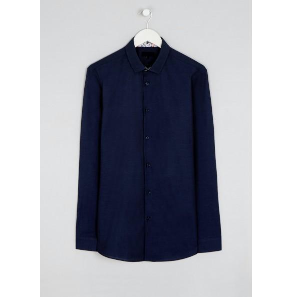 Long sleeve slim fit Oxford shirt in navy