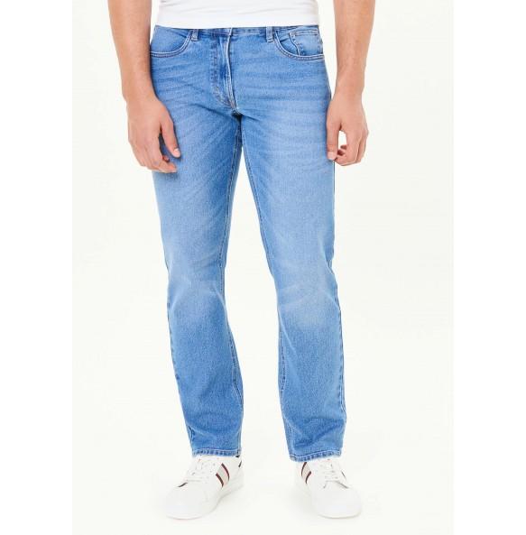 Stretch straight-leg jeans-Blue