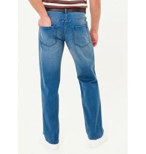 Belt elastic straight-leg jeans-Blue