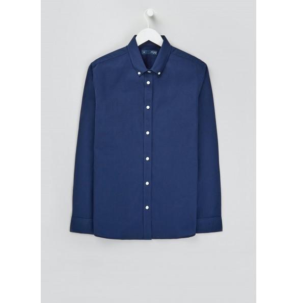 Long Sleeve Slim Fit Oxford Shirt - Navy