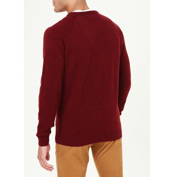Lamb's Fleece Crew Neck Sweater-Burgundy