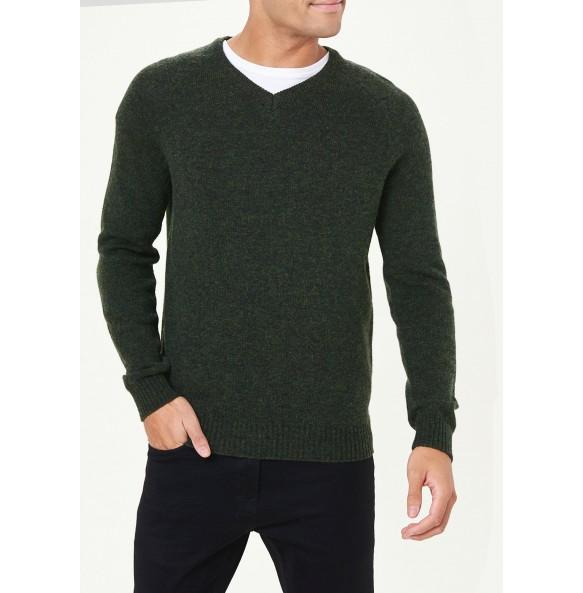 Lamb's Fleece Crew Neck Sweater-Green