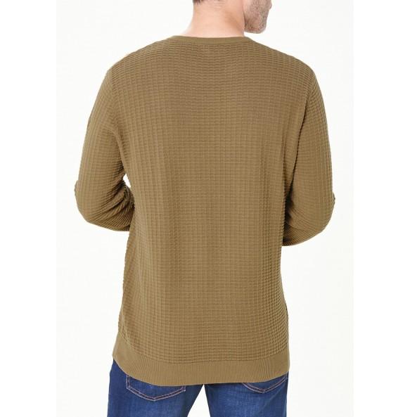 Cotton crew neck knit shirt-Brown *10