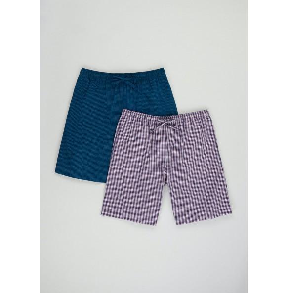 2 packs of cotton gingham pyjama shorts