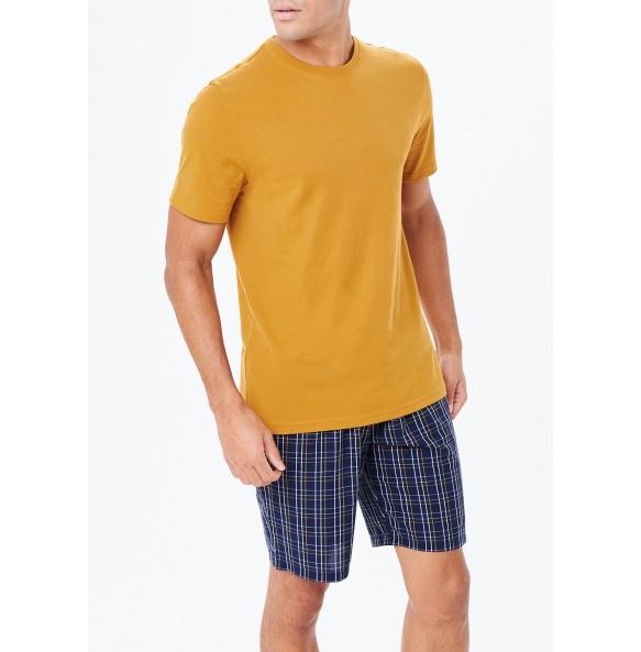 Plaid Short Pajama Set-Ochre