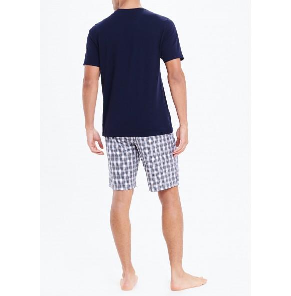 Plaid Short Pajama Set-Navy