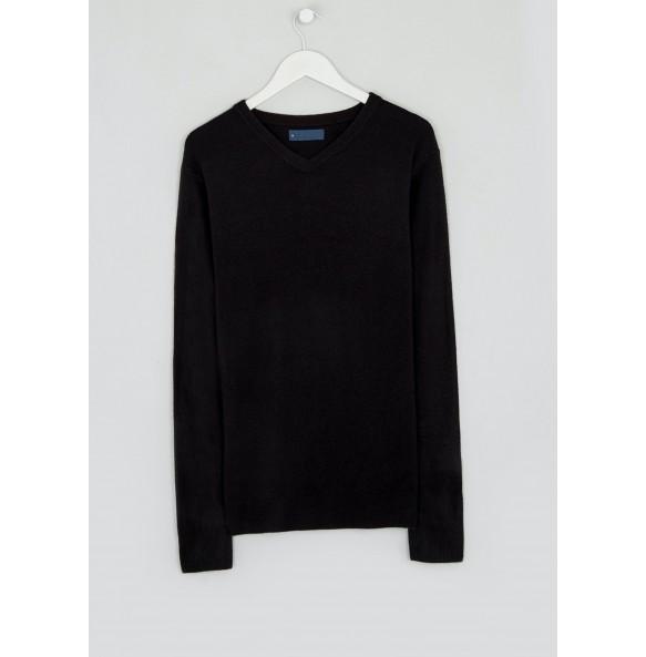 Soft Touch V-Neck Jumper-Black