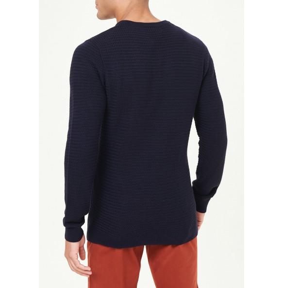 basket-knit sweater-Navy