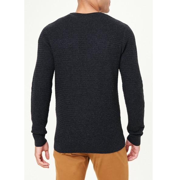 basket-knit sweater-Charcoal