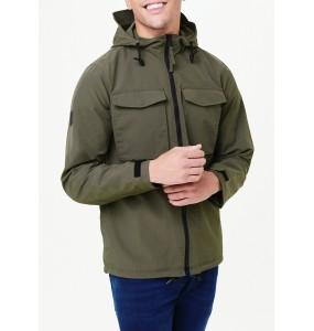 Rainproof hooded multi-purpose jacket in khaki