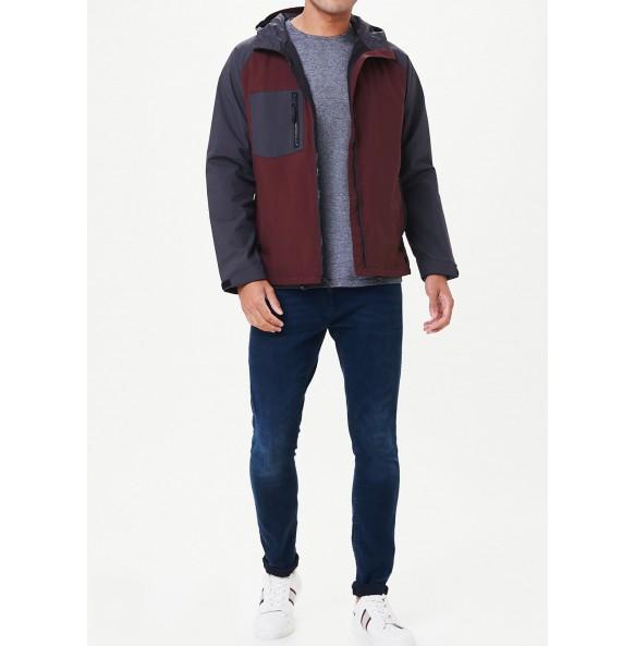 Rusty rainproof hooded jacket.