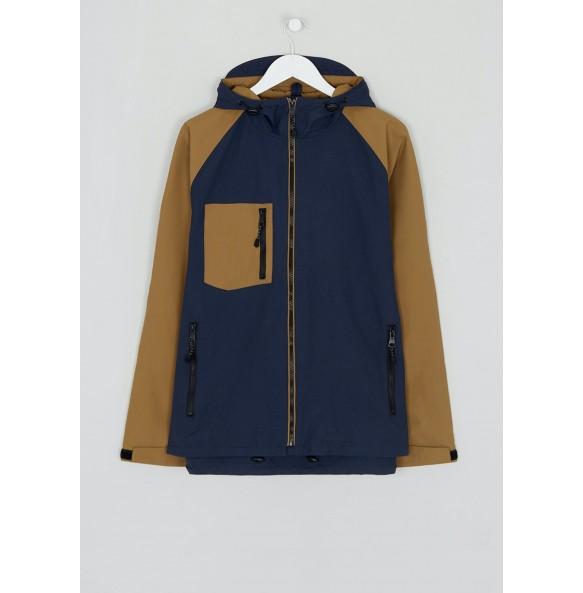 Brown rainproof hooded jacket