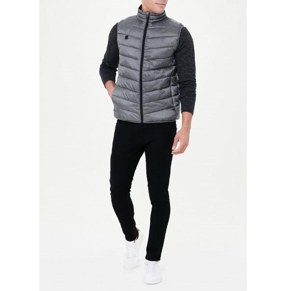 Lightweight funnel neck vest in grey