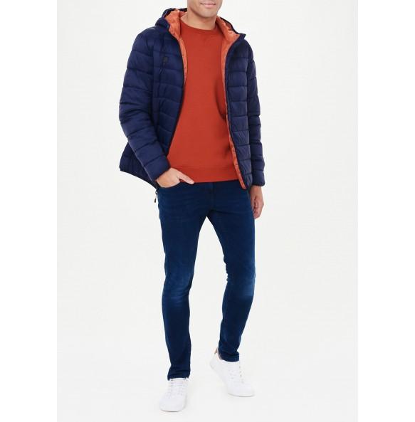 Lightweight hooded fleece jacket in navy blue