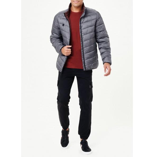 Lightweight funnel neck fleece jacket in grey.