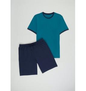 Basic Short Pajama Set-Teal