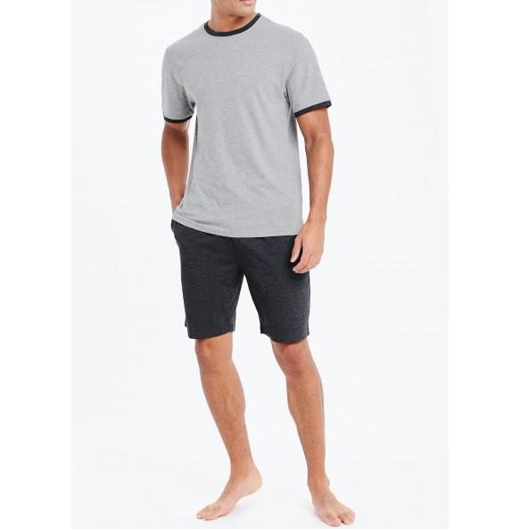 Basic Short Pajama Set-Grey