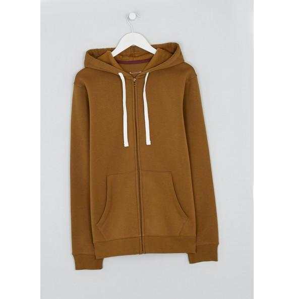 Zip-up hoodie-Brown
