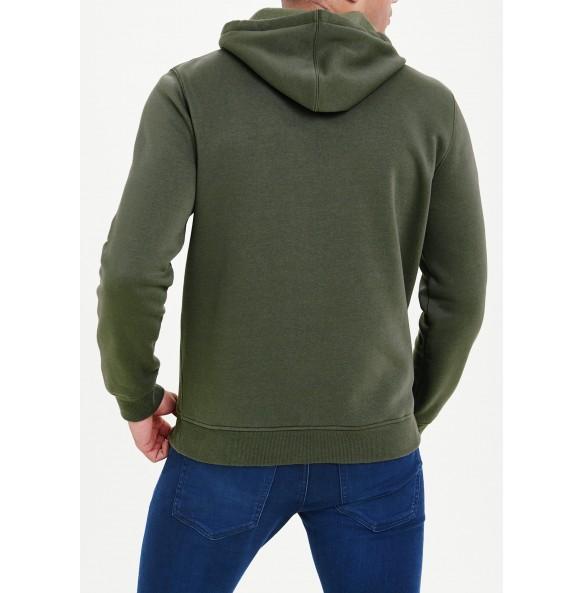 embroidered hoodie-Khaki