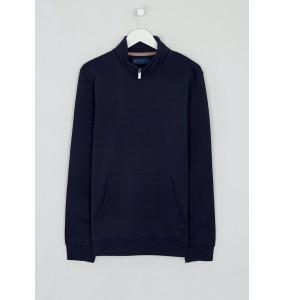 Embroidered Half Zip Sweatshirt-Navy