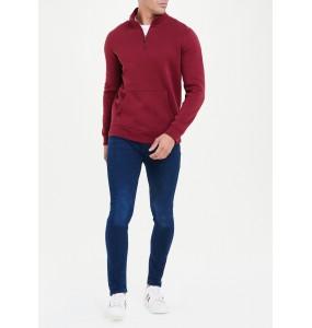 Embroidered Half Zip Sweatshirt-Red