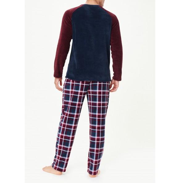 Wool Plaid Pajama Set-Burgundy *10
