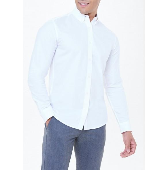 White Long Sleeve Slim Fit Oxford Shirt
