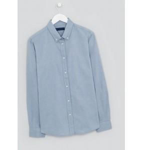 Denim long sleeve slim fit oxford shirt