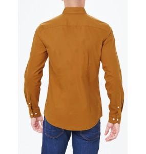 Long Sleeve Slim Fit Oxford Shirt Brown