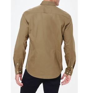 Long Sleeve Slim Fit Oxford Shirt in Khaki
