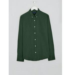 Long Sleeve Slim Fit Oxford Shirt Dark Green