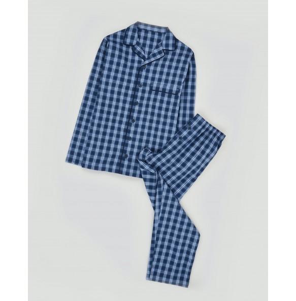 Cotton Plaid Pajama Set-Blue