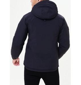 Black hooded coat