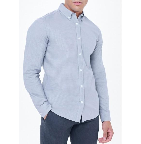 plaid oxford shirt-blue