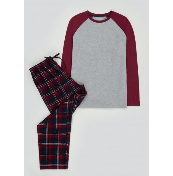 Plaid Long Sleeve Pajama Set