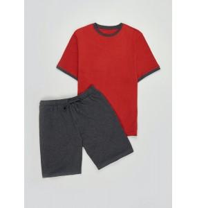 Basic Short Pajama Set-Rust