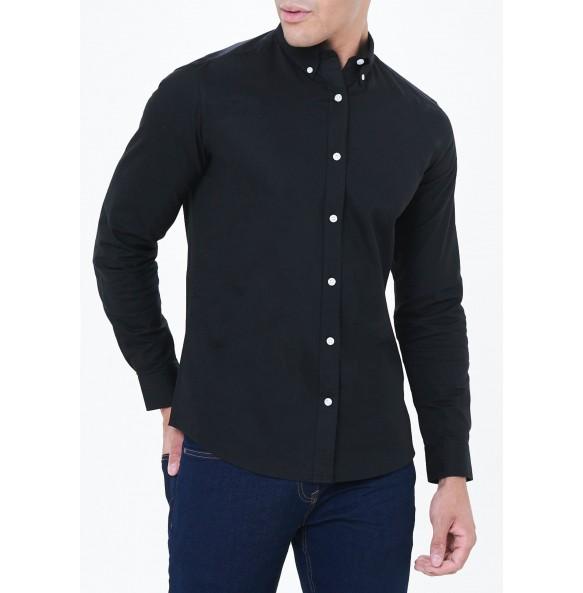 Long Sleeve Slim Fit Oxford Shirt-black