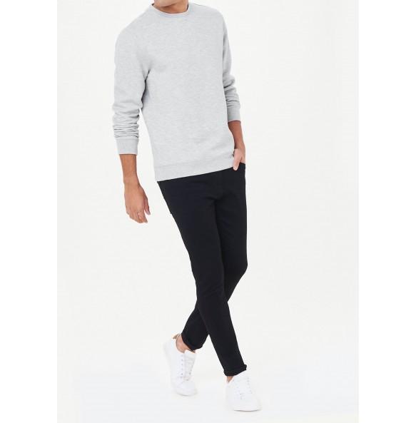herringbone crew neck sweatshirt-Grey
