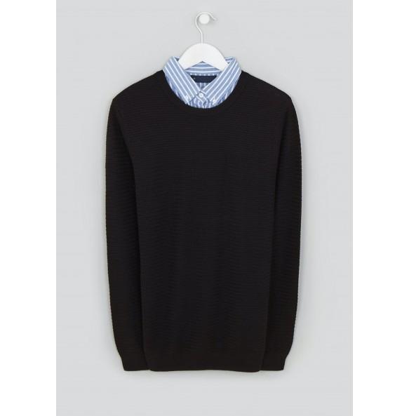 Imitation Shirt Jumper-Black