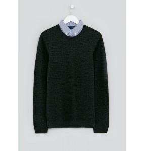 Imitation Shirt Jumper-Charcoal