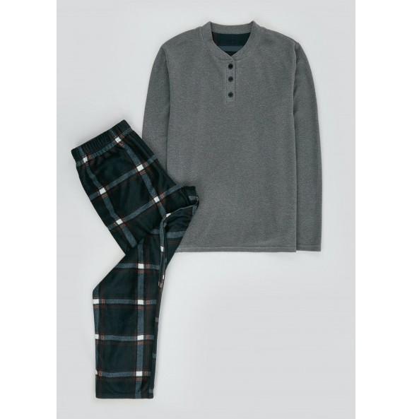 Wool Plaid Pajama Set-Navy *10